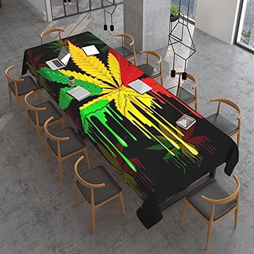Reggae Rasta - Mantel rectangular con textura de hoja de marihuana y hojas de marihuana, resistente al agua, sin arrugas, a prueba de derrames, para banquetes o para uso en interiores y exteri