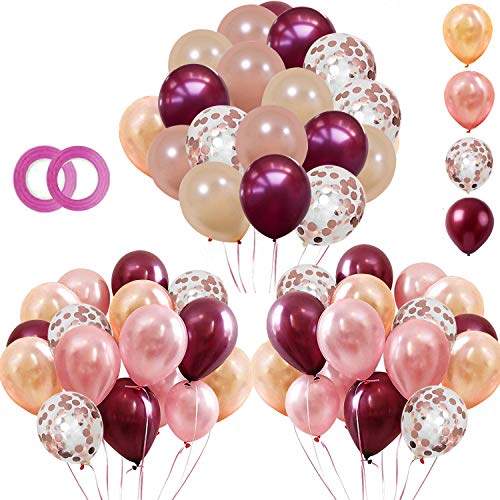 tarumedo 62 Stück Luftballons, Weinrot Rose Gold Ballons mit Rosegold Konfetti Latex Helium Ballons Party Luftballons für Hochzeit Geburtstag Baby Shower Party Dekorationen