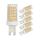 Bombillas LED G9 regulables 10W equivalentes a 80W halógenas luz blanca cálida 3000K 800 lúmenes 220V ángulo de haz de 360° ahorro de energía G9 base bi-pin (paquete de 5)