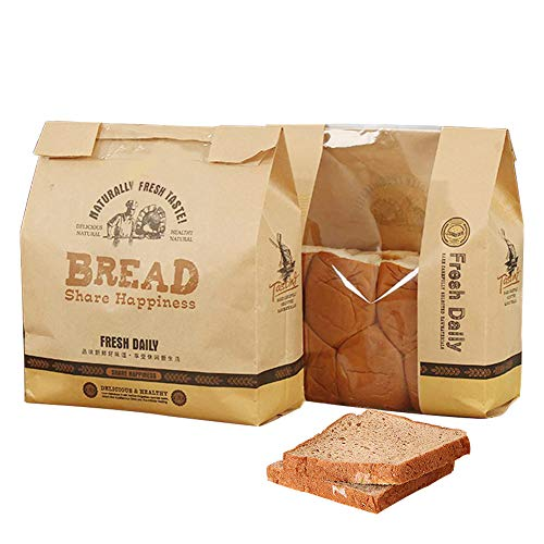 50 Pcs Kraft Paper Loaf Bread Packaging Bags,Toast Bakery Food Packaging Bag with Viewing Window,12.6'x8.3'x3.9' (Style D)
