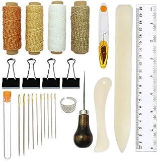 Reliure bricolage et kit de bricolage en cuir et fournitures de couture, y compris dossier à os Poignée pour plisser le pa...
