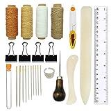Kits de herramientas de encuadernación, 25 piezas de kit de manualidades DIY Herramientas de costura premium para cuero, libros hechos a mano para libros hechos a mano