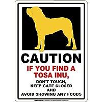 CAUTION IF YOU FIND マグネットサイン:土佐犬(スモール)ホワイト 注意 DON'T TOUCH 触れない/触らない KEEP GATE CLOSED ドアを閉める 英語 防犯 アメリカンマグネットステッカー