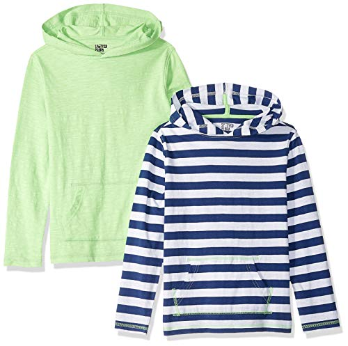 Amazon-Marke: Spotted Zebra Hoodies, Langarm, für Jungen, 2er-Pack, Navy Stripe/Green, US S (6-7) (EU 116 CM)