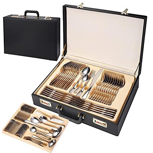 Conjunto de cajas de regalo de maleta de cuero de 72 piezas, cubiertos de vajilla de acero inoxidable para cocinas familiares, restaurantes y hoteles, espejo pulido, Silver