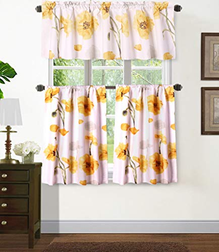 """Sapphire Home 3PC Rod Pocket Floral Kitchen Curtain 54"""" Width, Decorative Gray Floral Print, Soft, Light Filtering Room Darkening Thermal Foam Back Lined, Window Valance Decoration, DRP KC Yellow"""