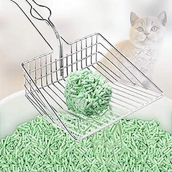Pelle à litière pour chat, litière creuse en métal pour chien, pelle à litière pour chat, pelle de toilette pour chaton avec poignée ergonomique à long manche, outil de nettoyage pour animaux