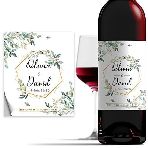 Etiquetas Personalizadas de 10x12cm para Botella de Vino de Boda, Pegatinas Decorativas de Vinilo Adhesivo Impermeable, Varios Diseños Disponibles - Spring