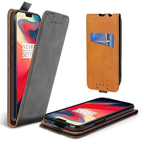 Lelogo Klapphülle für OnePlus 6 Hülle Vertikales Flip-Hülle Handyhülle, Lederhülle mit Kartenfächer (Dunkelgrau)