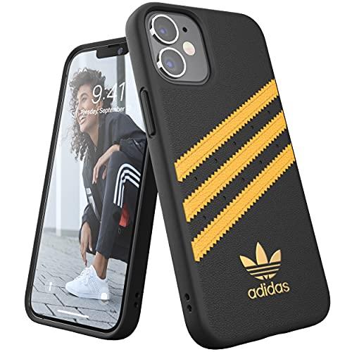 adidas Funda diseñada para iPhone 12 Mini 5.4, Carcasa a Prueba de caídas, Bordes elevados, Carcasa Original Moldeada, Color Negro y Dorado