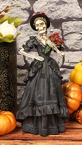 Ebros Gift Day of The Dead DOD Skeleton Lady Bride with Renaissance Black Steampunk Cocktail Gown Dress and Red Flowers Figurine Fashion Diva Statue As Ossuary Macabre Halloween Skeletons Decor