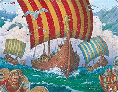 Larsen FI6 Naves vikingas Rumbo a la Batalla, Puzzle de Marco con 64 Piezas