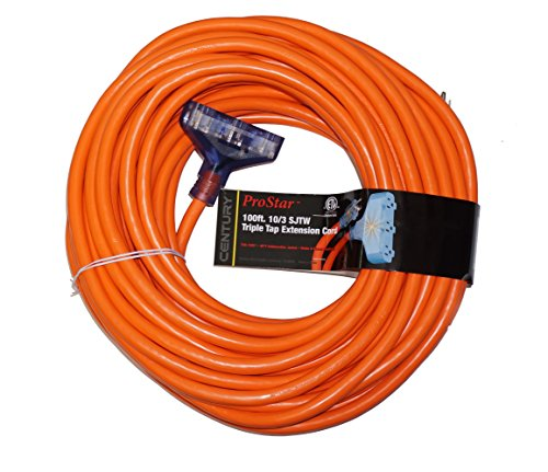 ProStar 100 Foot 10 Gauge SJTW 3 Conductor Triple Tap Extension Cord With Lighted Ends - Orange