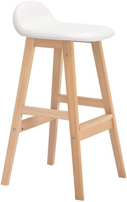LUO Tabouret de bar Minimaliste moderne Chaise de bar Dossier Tabouret haut Tabouret haut Bois Chaise de bar Tabouret de bar nordique Chaise de réception (68cm),blanc Blanc