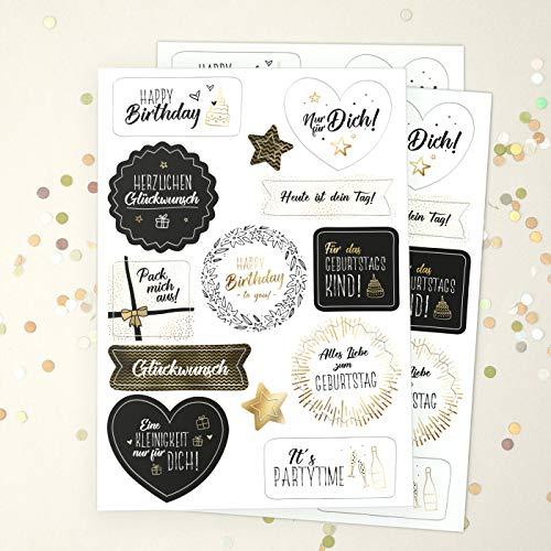 sendmoments Aufkleber zum Geburtstag, Happy Birthday Sticker White, 39 Deko Etiketten in verschiedenen Formen, vorgedruckt mit Glückwunsch Sprüchen, goldene Details, selbstklebend auf Geschenken
