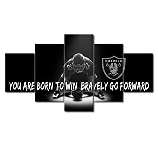 ZHFFYY Canvas Painting 5 Pieces American Football Picture Wall Art HD Print 5 Piece Oakland and Raiders Rugby Sports Painting Home Bedside Background Decoration Modern Art Poster