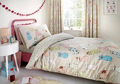 Bedlam Cheeky Cats Parure de lit, Polyester/Coton, Multicolore, Duvet Cover Set: Single