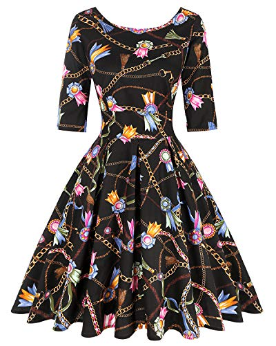 MINTLIMIT Damen 1950s Party Retro Brautjungfer Evening 3/4 Ärmel Cocktail Vintage Ostern Kleid (Ketten Muster,Größe XXL)