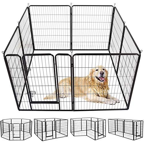 SUNCOO Dog Pen, Heavy Duty Folding Large Metal Dog Fence, Cat Puppy Rabbit Pet Exercise Playpen, Indoor Outdoor 8 Panels 40 Inches Portable Anti-Rust Yard Pet Pen Crate Cage Barrier Kennels