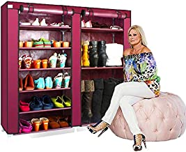 Gadgets Appliances 100% Brand New 6 Tier Dual Layer Portable Shoe Rack and Boot Rack DIY Organiser with Non Woven Dust Proof Cover Easy Installation Stand for Shoes Capacity 36 Pair (Maroon)