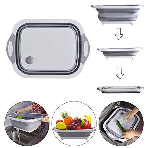 ERFHJ 3 in 1 Hakblok met Vergiet Keuken Opvouwbare Snijplank Afvoerbak Groente Fruit Wasmand