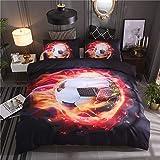 Wzz Bettwäsche 3 Teilig 3D Microfaser Calcio, Bettbezug, 2 Kissenbezug, für Kinder, Jungen, Mädchen Bettwäsche-Set,Firefootball,172 * 218cm