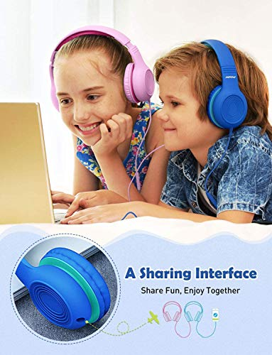 Mpow CH6S Kids Headphones with Microphone Over-Ear/On-Ear, HD Sound Sharing Function Headphones for Children Boys Girls, Volume Limited Safe 85dB/94dB Foldable Headset w/Mic for School/PC/Cellphone