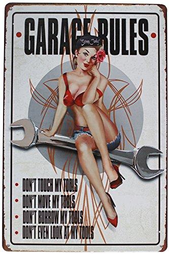 hioni Garage Rules, pancarta de metal Panel Placa Póster metálico Slogan Art Décor Vintage Pr garaje casa Pub