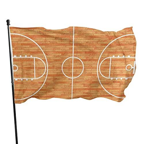 GOSMAO Bandera de jardín Amante del Deporte Cancha de Baloncesto Parquet Color Vivo y Resistente a la decoloración UV Banner de Patio con Doble Costura Bandera de Temporada Banderas de Pared 150X90cm