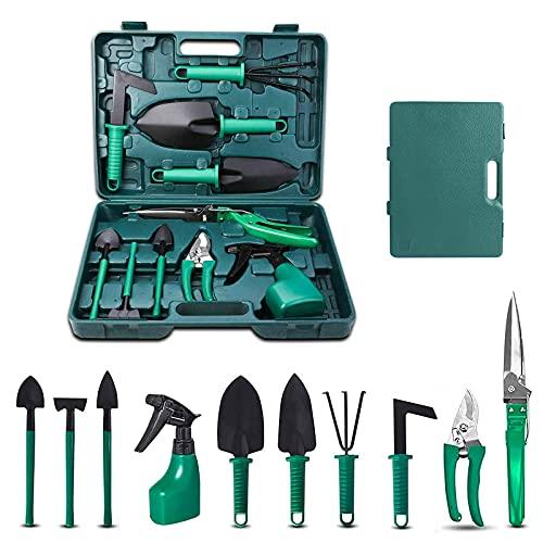 upstartech 10PCS Outils de Jardinage, Kits d'outils de Jardinage Femme avec étui de Transport, Cadeau de Jardin avec Poignée Ergonomique et Antirouille pour Les Parents et Amoureux du Jardin