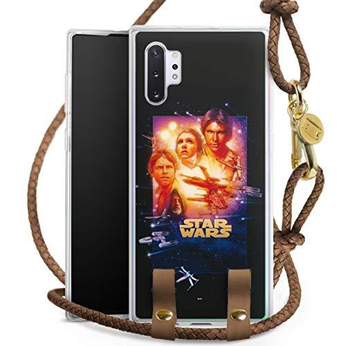 DeinDesign Carry Hülle kompatibel mit Samsung Galaxy Note 10 Plus Hülle mit Kordel aus Leder Handykette zum Umhängen braun Gold Star Wars Fanartikel Special Edition