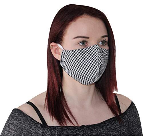 Kranholdt Behelfsmundschutz Mund- und Nasen-Maske aus Baumwolle genäht Made in Germany Farbe: schwarz Weiss kariert