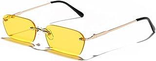 Único Gafas de Sol Sunglasses Gafas De Sol Pequeñas Sin Montura De Moda para Mujer, Gafas De Sol Steampunk Rectangulares