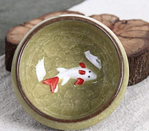 QQYG 1 Uds Juego de Tazas de té Chino de Kung Fu con Hielo glaseado glaseado té de Viaje Juegos de Tazas de Vino con Tazas de Porcelana de pez Dorado-1_