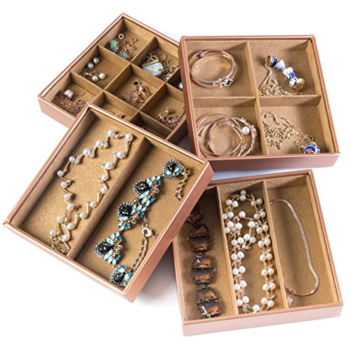 Huji Stackable Jewelry Trays Organizer Storage Rings Earrings Bracelets Watches Necklaces 1 Camel Brown Stackable Trays