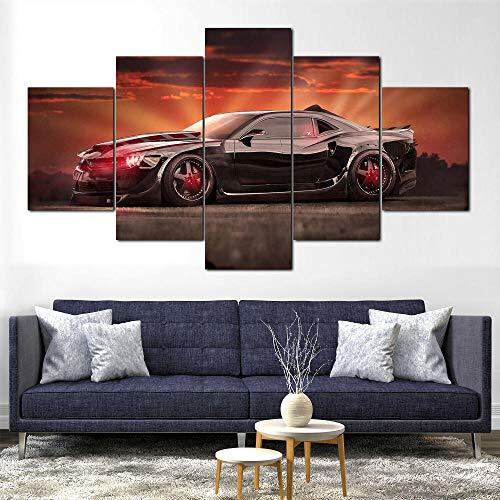 BHJIO Impresiones sobre Lienzo 5 Cuadros En Lienzo Modernos Dormitorios Murales Pared Lona XXL Grande Hogar Cuadros Decora Salón Piezas Evil Chevrol Camaro Muscle Car