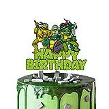 Acrylic Ninja Turtles Happy Birthday Cake Topper, Ninja Turtles Smash Cake Topper, Turtles Birthday Party Decoration, TMNT Party Supplies-Green Font