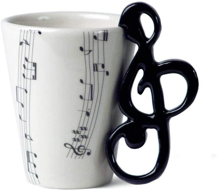 Treble Clef 8oz Black Handmade Ceramic Coffee Mug 10cm X 8cm