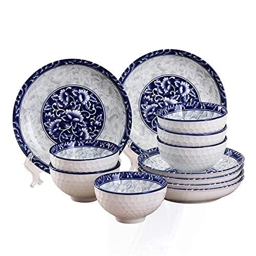 ZRB Juego de vajilla clásica, 12 piezas de vajilla de cerámica estilo apaneso, vajilla de cerámica creativa azul y blanco, incluye platos/cuencos, microondas para el hogar, lavavajillas, nevera
