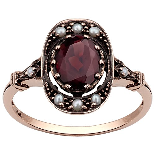 10k Rose Gold Vintage Style Genuine Oval Garnet and Cultured-Pearl Ring