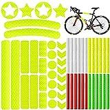 Jimiston 48 Pinzas Reflectantes, reflectores de radios + 42 Pegatinas Reflectantes, Juego de láminas Reflectantes para marcar cochecitos, Bicicletas, Cascos, Autoadhesivo, Altamente Reflectante