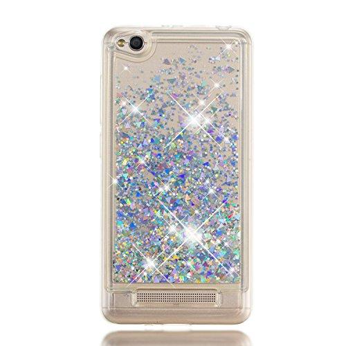 Phcases für Xiaomi Redmi 4A, Hülle, [Flüssigkristall] Glitter Design Glänzende Soft Flex Silikon Bumper Style Handyhülle, Passgenau Schutzhülle für Xiaomi Redmi 4A Hüllenabdeckung-Silber.