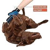 TRUE PET – Fellpflegehandschuh für Hund, Katze & Hase – Enthaaren, Baden & Massieren   Fellbürste für sensible Haut   Hundebürste & Katzenbürste für Mittel- & Kurzhaar   Fellkamm Striegel - 2