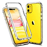 KUMEEK iPhone 11 Case,Full-Body Rugged Clear Bumper Case with Built-in Screen Protector for iPhone 11 Cases 6.1 Inch