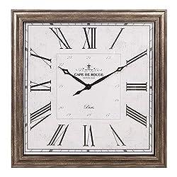 40 Distressed Gunmetal Roman Numeral Square Wall Clock