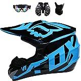 ESASAM Fox - Casco de motocross con gafas (4 unidades), carcasa de ABS, norma de seguridad ECE 22.05 (azul y negro, M)