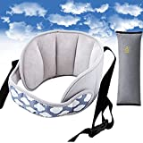 Binjor Automóvil reposacabezas soporte para la cabeza para Bebés Cabeza para carritos Coche Niño Asiento para la Cabeza Ajustable seguridad almohada Tipo de nube +1 reposabrazos gris