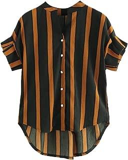 DADKA Fashion Womens Tunic Shirt Short Sleeve Stripe Plus Size Button Casual T-shirt Tops