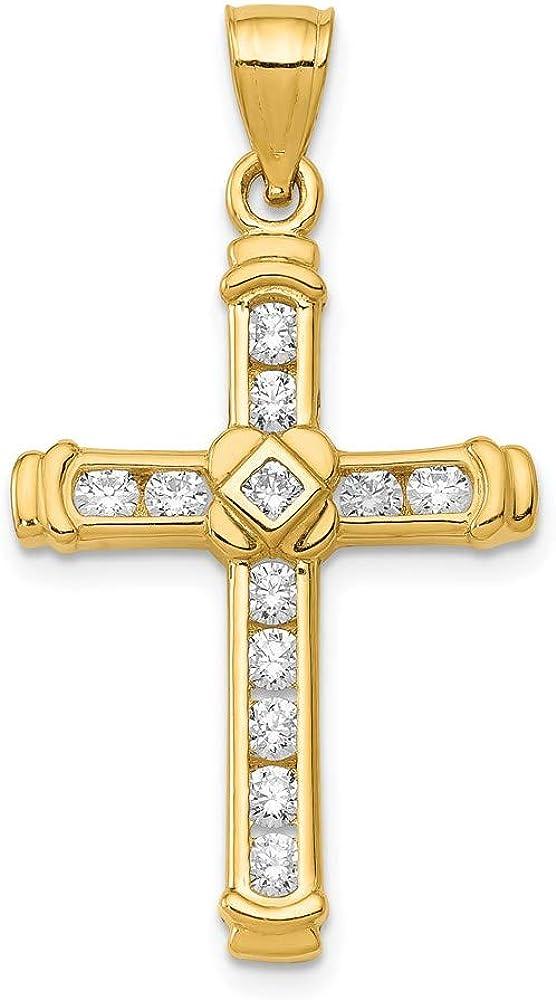14K Yellow Gold Channel Set CZ Latin Cross Pendant