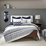 3 Piece All Season Cottage Textured Botanical White Navy Comforter King - Cal King Set, Farmhouse Tufted Soft Shabby Chic Bedding Bohemian Eclectic Style, Chenille Stitching Cotton Percale Fabric